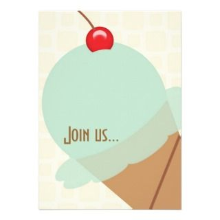 Birthday mint ice cream party invitation