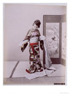 Young Japanese Girl Dressing, Late 19th Century Giclee Print