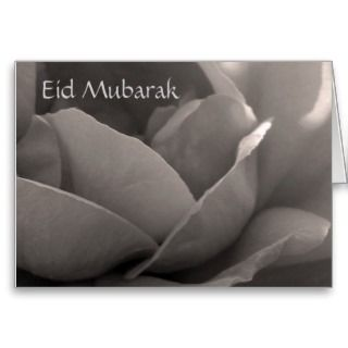 Eid Mubarak   rose card in b&w