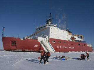 Scientists from the Uscg Icebreaker Healy, Wagb 20, Measuring Ice Thickness Photographic Print by Tom Walker