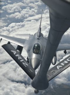 An F 16 from Colorado Air National Guard Refuels from a U.S. Air Force