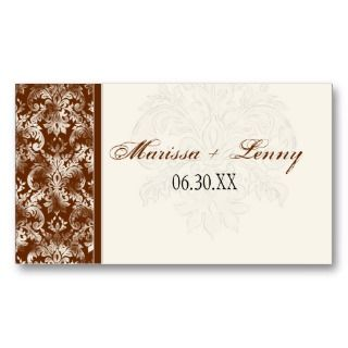 Fl di Lys Damask Brown Wedding Table Seating Business Cards