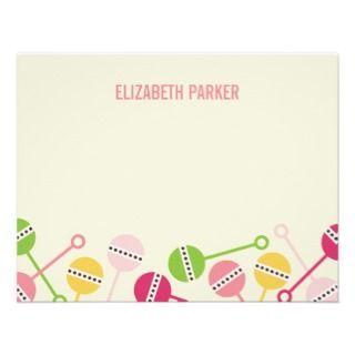 Modern Rattles Baby Shower Thank You Cards Custom Invite