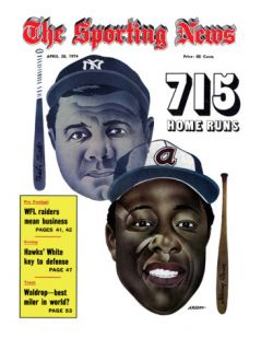 New York Yankees Babe Ruth and Atlanta Braves Hank Aaron   April 20, 1974 Print