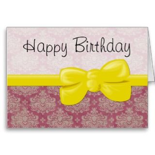 Happy Birthday Sweet 16 Damask Pink, White, Yellow Greeting Cards