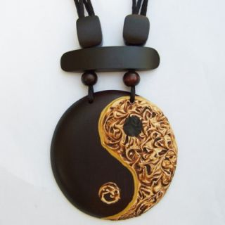 Halskette Anhänger Holz Amulett Ying Yang Design N130