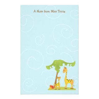 Mama and Baby Giraffe Customized Stationery