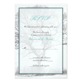 Aqua Black White Winter Tree Wedding Invitation