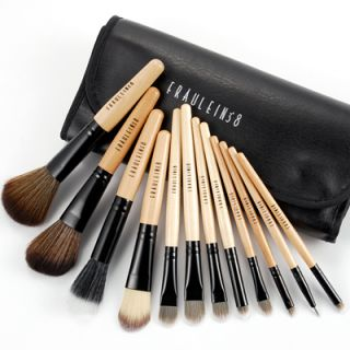 12teilig Make up Pinsel Holzgriff Brush Makeup Etui Kometik Fräulein