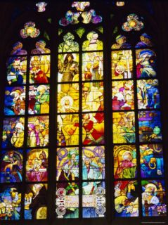 Stained Glass Windows, St. Vitus Cathedral, Prague, Czech Republic, ope Photographic Print by Nigel Francis