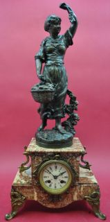 antique french   figural Mantel Clock   cast iron and red marble   app