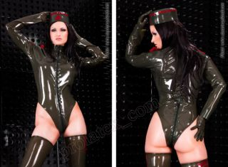 Latex Catsuit Gummi Rubber Uniform Body Suit von Latexa 3 Wege Zip Gr