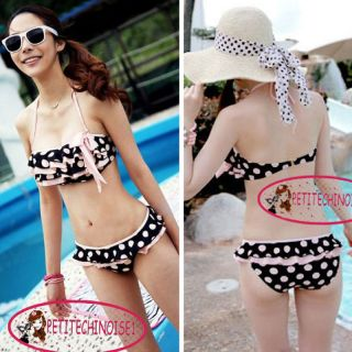 Cute Polka Dot Bow Knot Layered Ruffle Bikini Set Bathing Bademode