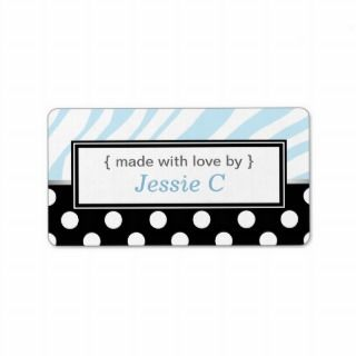 Black Polka Dot Blue Zebra Print Baking Labels