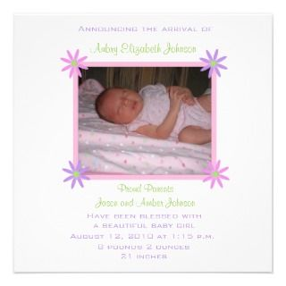 Spring Flowers Baby Birth Announcement