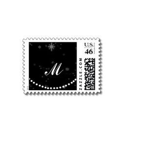 White Polka Dot Circles on Snowy Black Background Stamp
