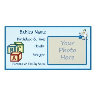 New Baby Boy Birth Announcement Photo CArd