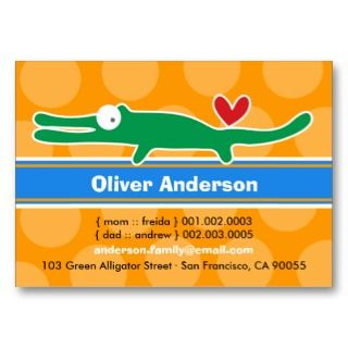 Cute Cartoon Alligator Kid Photo Calling Card Business Card Templates
