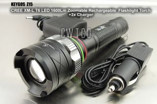 CREE XM L T6 LED 1600Lm Flashlight Torch Z15 Rechargeable Zoomable