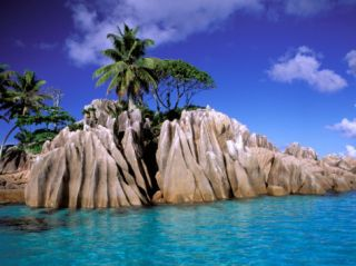 Granite Outcrops, La Digue Island, Seychelles, Africa Photographic Print by Pete Oxford