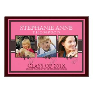 Elegant Three Photo Through the Years Graduation Personalized