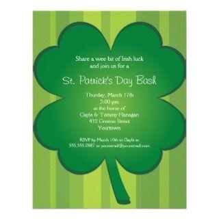 Giant Shamrock St Patricks Day Party Invitation invitation