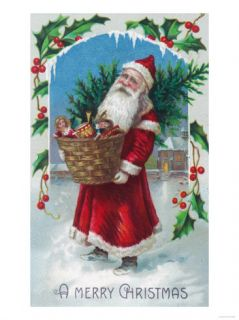 A Merry Christmas Santa Holding Basket of Toys Scene Prints