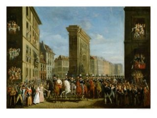 Passage of Allied Sovereigns in Front of the Porte Saint Denis, 31st March 1814 Giclee Print by Jean Zippel