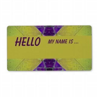 purple yellow name badge personalized shipping label