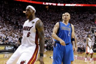 Dallas Mavericks v Miami Heat   Game One, Miami, FL   MAY 31: LeBron James and Jason Kidd Photographic Print