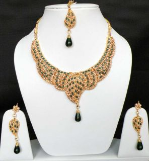 4Pc INDIAN BOLLYWOOD BRIDAL JEWELRY SAREE KUNDAN CZ NECKLACE EARRINGS