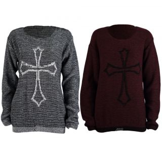 LADIES LONGSLEEVE GOTHIC CROSS PRINT KNITTED JUMPER WOMENS SWEATER TOP