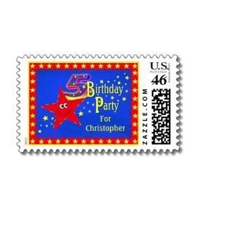 Red Smiley Star 5th Birthday Party Postage