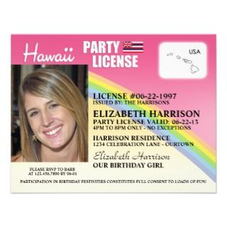 Drivers License Hawaii Birthday Invitations