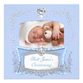 Baby Boy Christening Baptism Blue Polka Dot Personalized Announcement