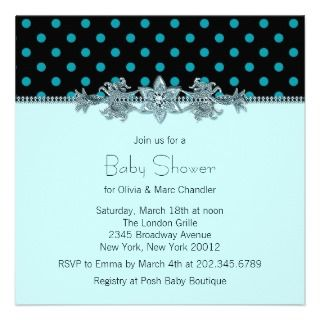 Teal Blue Black Polka Dot Baby Shower Custom Announcement