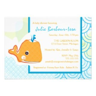 Baby Shower Invitation   Baby Whale