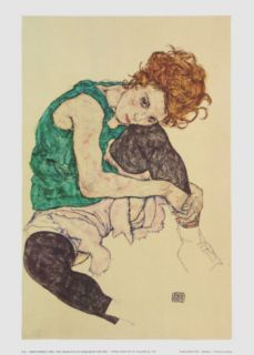 Woman Seated with Left Leg Pulled Up, 1917 Poster by Egon Schiele