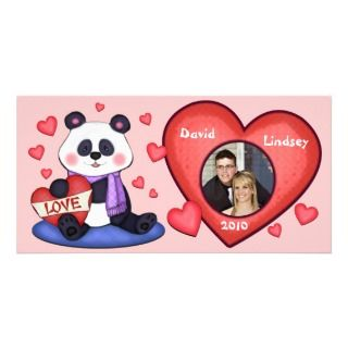 Custom Valentines Day Photo Card   Panda Bear