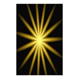 Gold star on black background custom stationery
