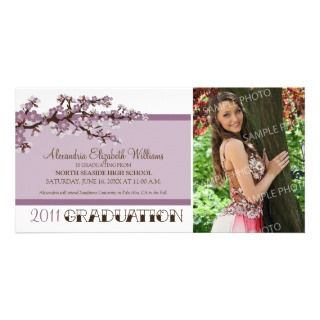 Cherry Blossom Graduation Announcement (purple) Photo Card