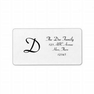 DBG© Customizable Monogram Personalized Address Label