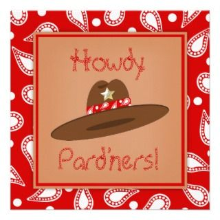 Cowboy Hat Red Paisley Bandanna Birthday Party Personalized