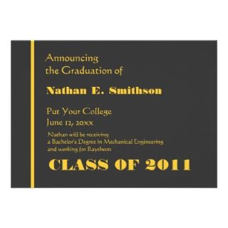 Gray & Gold Stripe College Graduation Announcement