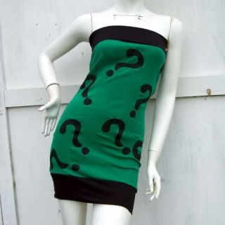 Riddler Girl Batman S XL costume Cosplay Mini Dress Arkham DC DiY SExy
