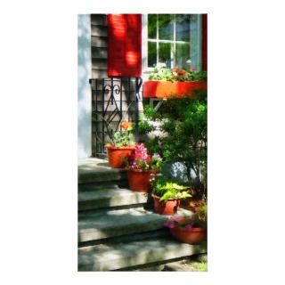 Flower Pots and Red Shutters Customized Photo Card