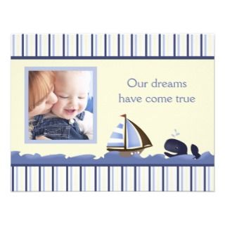MATE Blue Whale Photo Baby Birth Card Announcement