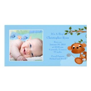 Baby Monkey PHOTO Boy Birth Announcement Photo Greeting Card