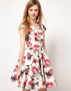 Ted Baker Vintage Floral Print Full Skirt Party Skater Dress 12 3 169