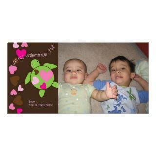 Heart Sea Turtles Valentines Photo Card 4 x 8